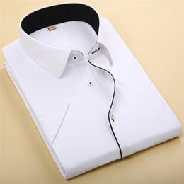 Wholesale Stitching Designs Shirts - Wholesale-Men's Dress Shirts 2016 Summer New Arrivals Fashion Stitching Black Lining Design Cotton Male Short Sleeve Business Shirt M080