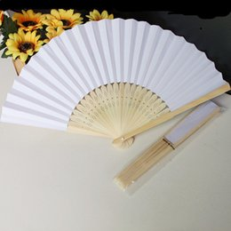 Wholesale Antique Chinese Fan Paper - Chinese Paper Folding Fan white color Children's Painting painted fan Kindergarten creative diy handmade material paper fans