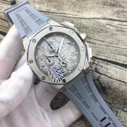 Wholesale Men Luxury Watch Offshore - Luxury Swiss Brand Mens Limited Silver Case Offshore Quartz Chronograph Watch Stainless Steel Men Sport Oak James Grey Rubber Dive Watches