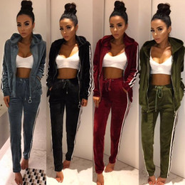Wholesale Womens Xl Pants - 2017 New Arrival Womens Tracksuits strip spliced velvet tracksuit winter two piece set top and pants full sleeve casual set velour sweatsuit