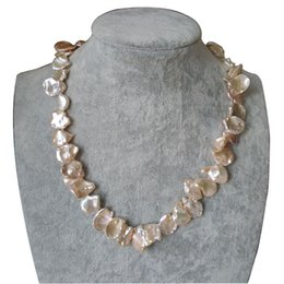 Wholesale 12 Inch Rope Lights - 17 inches 12-18mm Natural Pink Baroque Keishi Pearl Necklace with Pea Shaped 925 Stelring Silver Moon Light Clasp