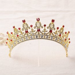 Wholesale Colorful Tiaras Wholesale - 2016 New Hot Sell Cheap High Quality Crystal Colorful Rhinestone Luxury Bridal Crown Wedding Tiara Prom Evening Party Crown
