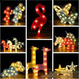 Wholesale 37 Led - 37 Styles Baby INS 3D LED Unicorn Night Light Table Lamp Christmas Decor Romantic Kids Flamingo Pineapple Light Party Decor CCA7634 10pcs