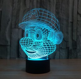 Wholesale Mario Bedroom - Novelty Lighting Super Mario Bros Table Desk Lamp Touch Sensor 3D LED Bulb Nightlight Atmosphere Decor Lamp for Kids Bedroom