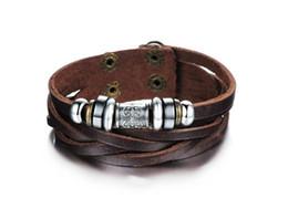 Wholesale Leather Bracelet Rock Style - Fashion Jewelry Oxhide Leather Bracelets Retro weave Shuangkou Bracelet Adjustable Size Rock Style Personalized men's Leather Bracelet