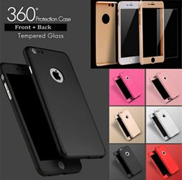 Wholesale Case Back Plate Iphone - For iPhone 7 6S Plus Full Body Case Hybrid Tempered Glass Screen PC Middle Plate Hard Back Cover for Samsung Galaxy S8 Plus S7 S6 Edge