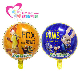 Wholesale Cartoon Ballons Wholesale - Wholesale 18 Inch Cartoon Helium Foil Balloons Zootopia toy Ballons For Kids Birthday Wedding Party Decoration