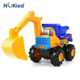 Wholesale Toy Model Excavators - NUKied Baby Color Cartoon Car Engineering Vehicles Excavator Sand Truck Model Kids Birthday Gifts Toys For Children