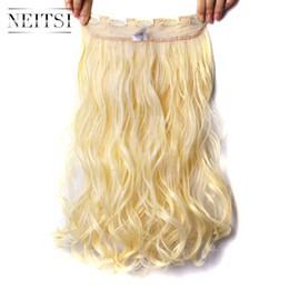 """Wholesale Blonde Synthetic Weave - Neitsi 1PC 107g 22"""" 613# Blonde Color 5Clips Kanekalon Synthetic Braiding Hair Pieces Clip In Hair Curly Wavy Weave Extensions"""