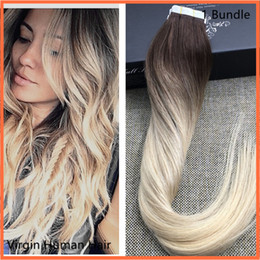 Wholesale 24 Inch Tape Hair - 100g=50pcs 40pcs 18 20 22 24 inch Glue Skin Weft PU Ombre Tape in Human Hair Extensions INDIAN REMY huge stock 3-5 days delivery
