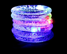 Wholesale Children Light Toys - LED Flash Blink Glow Color Changing Light Acrylic Children Toys Lamp Luminous Hand Ring Party Fluorescence Club Stage Bracelet Bangle Xmas