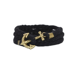 Wholesale Anchor Bracelet Cotton Rope - Vintage Anchor Bracelet Multilayer Handmade Cotton Rope Infinity Anchor Bracelet 7 Mixed Colors For Men Women Christmas Gift Jewerly
