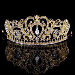 Wholesale Gold Hair Accessories - Bling Beaded Crystals Wedding Crowns 2018 Bridal Diamond Jewelry Rhinestone Headband Hair Crown Accessories Party Tiara Cheap Free Shipping