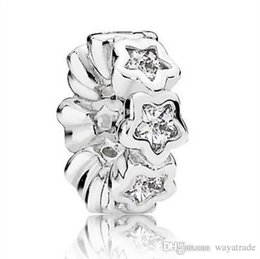 Wholesale Silver Hollow Heart Charm Bracelet - 2016 Fashion White Crystal Hollow Star Charm 925 Sterling Silver European Charms Beads Fit Pandora Bracelet Snake Chain DIY Jewelry 10