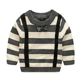 Wholesale Wholesale Child Overalls - 2016 baby boys striped Pullover Fake overall Neck bow Gentle sweater children Autumn winter o-neck soft cotton knitwear gray 12-18 18-24 3T