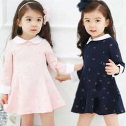 Wholesale Lace Baby Doll Collar Dress - Fashion Spring Autumn Baby Girls Long Sleeved Bow Cotton Dress Princess A-Line Dress Children Party Dress Doll Collar Clothes Tops Outerwear