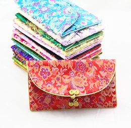 Wholesale Napkins Fabrics - Creative Chinese Button Silk Brocade 3 Set of Purse Long Wallet with Coin Bags Napkin pack Women Craft Fabric Pouches Clutch Bag for Gift