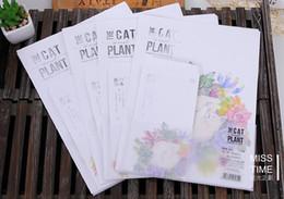 Wholesale Design Paper Pads - Wholesale-Cute Cartoon Cat Plant Flowers 4 designs Letter pad paper 6 sheets letter paper+3 pcs envelopes per set writing paper Stationery