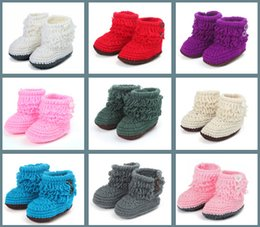 Wholesale Handmade Crochet Boots - Baby Crochet Shoes Toddler shoes Infant shoes Baby Knitted Footwear 9colors first walker shoes handmade infants toddlers boots 11cm D542
