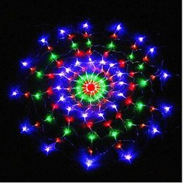 Wholesale Led Web Lights - 1.2M 120led spider web led string lights net light christmas halloween party wedding decoration multicolor