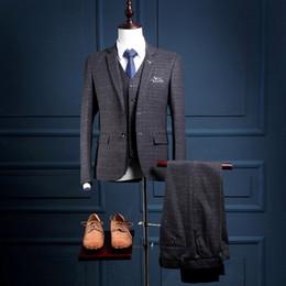 Wholesale Plaid Suits For Men - Custom Made 2 Buttons Slim Fit Formal Men Suit Parties Wear Mans Wedding Prom Tuxedo (Coat+Pants+Vest) NA19 Plaid Suits For Man