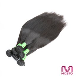 Wholesale Nature Hair Weave - PROMOTION! 9 pc Brazilian Hair Straight Unprocessed Human Hair Wefts Bundles Nature 1B Human Hair Weaves Hair Extensions