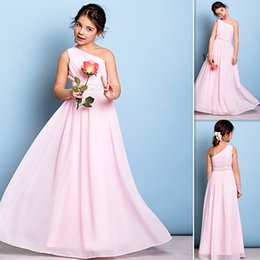 Wholesale Child Bridesmaids Dresses - 2016 Junior Bridesmaid Dresses Pink One Shoulder Chiffon Long Flower Girls Gowns Beaded Child Pageant Dress For Wedding Party