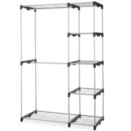 Wholesale Plastic Shelfs - Closet Organizer Storage Rack Portable Clothes Hanger Home Garment Shelf Rod G68