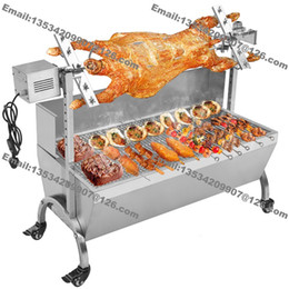 Máquina asada online-Envío gratis 120 cm Heavy Duty Lamb Pig Goat Charcoal Barbacoa BBQ Grill Rotisserie Spit Raclette Hog Roasting Machine con 60 kg Motor