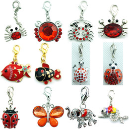 Wholesale Silver Crab Charm - Mix Sale High Quality Fashion Red Crystal Dangle Crab Fish Animal Floating Lobster Clasp Charms For Jewelry Accessories