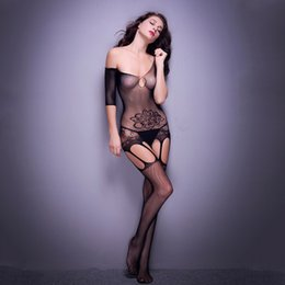 Wholesale Lingerie Nylon Fetish - Sexy women Lace Lingerie Bodystocking Clothes intimate Fetish Lingere floral fishnet sexy bodystocking