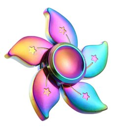 Wholesale Flowers Toys - New Arrival Rainbow Bauhinia Flower Star Metal Fidget Spinner Hand Finger Gyro EDC Focus Toy Tri-spinner Stress Toy Gift