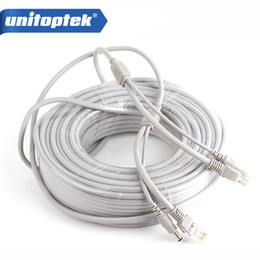 Wholesale Dual Lan - CCTV Network Lan Cable CAT5 CAT-5e 30M 100ft Ethernet Cable RJ45 + DC Power For Network Video Recorder NVR IP Cameras Gray