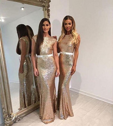 Wholesale Sparkling Sashes - Sparkle Champagne Sequins 2016 New Cheap Mermaid Bridesmaid Dresses Cap Sleeves Backless Long With Sashes Wedding Party Maid Honor of Gowns