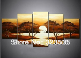Wholesale Cheap Artwork For Walls - 5 panel wall art canvas cheap Modern abstract African landscape artwork deco picture oil painting set for