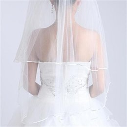 Wholesale Vintage Ribbons - Ribbon Edge Two Layer Yam Dyed Bridal Veil Elegant Vintage Wedding Accessory Cheap Beautiful for Happy Marriage V06