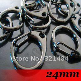Wholesale Black Metal Swivel Clip - Free ship! 24mm Gunmetal black Large Metal Swivel Lobster Clasp Clips For Key Ring Chain Paracord Hook handbag buckles