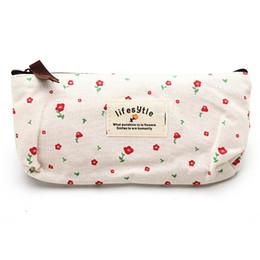 Wholesale Makeup Style Pencil Case - Wholesale-Fresh Countryside Style Flower Floral Canvas Pencil Case Pen Bags Cosmetic Makeup Bag Pouch Wallet Zipper Storage Purse Bag Gift