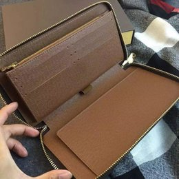 Wholesale New Women Clutch Wallet - 2016 New Famous Brand Genuine Leather Men's Wallets Men Big Capacity handbags Business Clutch Zipper Long Wallet Women Purses M60002 N60003