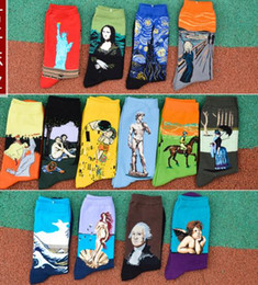 Wholesale men statue - Art Style Sock Women MEN 100% Cotton Vintage Statue of Liberty Mona Lisa Starry Sky Kiss Socking Lovers Middle tube socks