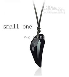 Wholesale Long Swarovski Necklace - black Swarovski cystal beads Vintage Long Chain wolf tooth necklace