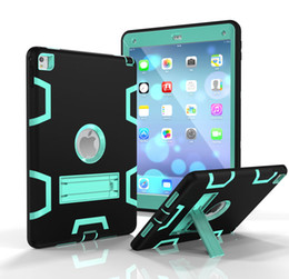 Wholesale Military Ipad Mini - Heavy Duty Military Extreme Armor Defender Rugged Hybrid Impact Protective Case With Kickstand For Apple iPad 2 3 4 6 Air Air2 Pro 9.7 inch