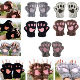 Wholesale Female Bears - Bear Paw Glove Cute Animal Paw Fingerless Mittens Fluffy Warm Bear Plush Gloves Half Cover Female Gloves 13 Colors OOA2965