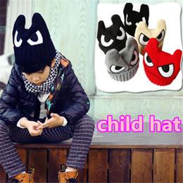 Wholesale Woolen Baby Caps - New arrival child knitted hat baby hat animal baby hats eyes cute eye woolen cap for kids children kid409