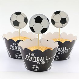 Wholesale Football Party Favors - Wholesale- Cartoon Theme Event Decoration Football Cupcake Wrappers Birthday Party Baby Shower Kids Favors Cake Toppers Supplies 24pcs\lot