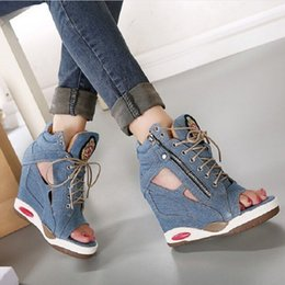 Wholesale High Heel Jeans Shoes - Spring Summer Open Toe Shoes Sexy Lady Pumps High Heel Girl Wedge Sandals Platform Lady Fashion Shoes Jeans Designer Wedges B018