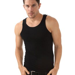 Wholesale Wholesale Blank Tanks - Wholesale-New 100% Cotton Best Bodybuilding Men Tank Tops Solid Color Cheap O-Neck Blank Tank Top For Men