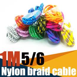 Wholesale Iphone Cords Colors - free shipping 1M3FT Nylon Fabric Braid Cable Data Sync charging USB Cord 10 Colors For 5 6 7