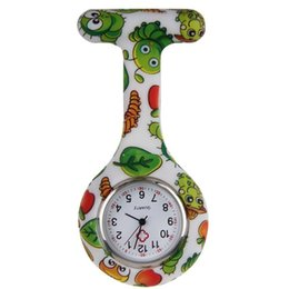 Wholesale Cheap Nurses Watch - Wholesale-Cheap Hot Sale Silicone Nurse Watch Men Women Clip-on Fob Brooch Pendant Watches Cartoon Insect Printed Hanging Pocket Watch