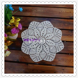 Wholesale Wholesale Crochet China - Wholesale- 2016 new fashion natural cotton 33cm round lace crochet mat colorful hot dish cup mat as novelty household for sale from china